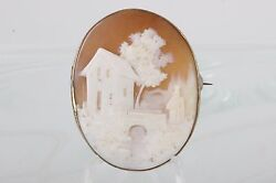 ANTIQUE GOLD FILLED CAMEO WOMAN AT BRIDGE BROOCH FASHION 0126