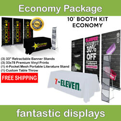 Complete Trade Show Booth 3 Banner Stands, Table Throw, And Brochure Holder