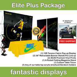 Complete Trade Show Booth 10' Pop Up, 2 Banner Stands, Table Throw, Etc.