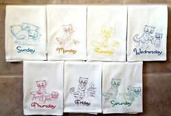 Colored Kitten Days Of The Week Machine Embroidered Flour Sack Dish Towels