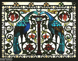La FARGE LARGE WINDOW PEACOCKs ATTRIBUTED TO LaFARGE PURE GLAMOROUS GLASS CHUNKS