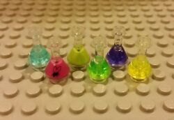 Lego New Complete Set/6 Erlenmeyer Flasks - Bright Green, Purple, And More