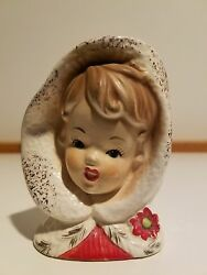 Vintage Christmas Inarco Girl W/poinsettias And Gold Trim Head Vase - Very Rare
