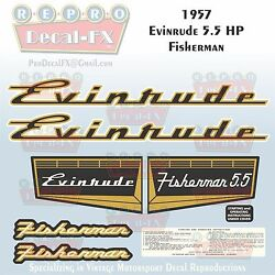 1957 Evinrude 5.5 Hp Fisherman Outboard Reproduction 8 Pc Marine Vinyl Decals