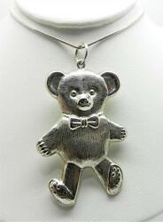 Vintage Sterling Silver Teddy Bear Pendant With 30 Snake Chain -rare - Lb-c1563