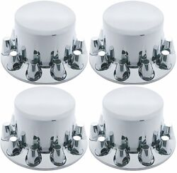 Chrome Wheel Axle Covers Abs 4 Rear 33mm W/ Removable Hub Caps Semi Truck 10263