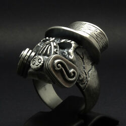 Skull Ring Gas Mask Sterling Silver Biker Vintage Masonic Military Size Uniqable