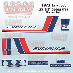 1972 Evinrude 25 Hp Electric Start Sportster Outboard Repro 10pc Decals 25252-53