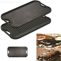 Lodge Reversible Cast Iron Grill Griddle Burner Stovetop Cookware 20x10in New