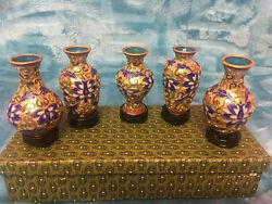 Cloisonne Champleve Set Of 5 Mini Vase With A Gift Box Fund Raising 1