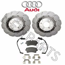 For Audi Rs5 Set Of Rear Left Or Right Dimpled And Drilled Brake Rotors And Pads Oes