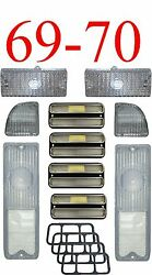 69 70 Chevy 10pc All Clear Tail Light, Deluxe Side And Parking Light Kit C/k Truck