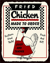 (VMA-L-6558) Fried Chicken To Order Vintage Metal Art Meat Deli Retro Tin Sign