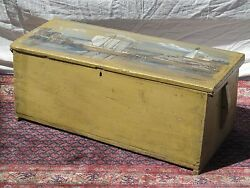 18th C Canted Antique Sea Chest With 1944 Artist Painted Harbor And Lighthouse