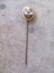 Antique 1860 - 1880 English Lord Portrait 14k Gold Stick Pin Mr. Ford Essex