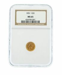 1851 G1 Ngc Ms 65 One Dollar Liberty Head Gold Coin