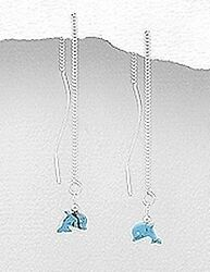 New 925 Sterling Silver Genuine Turquoise Dolphin Threader Earrings Pull Through