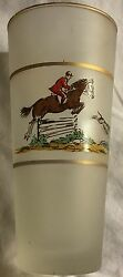 Fox Hunt Hunting Set 4 Frosted High Ball Glasses