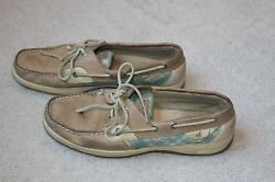 Sperry Top Sider Green Plaid Leather Size 8.5 M Boat Shoes Sperrys Brown Tan