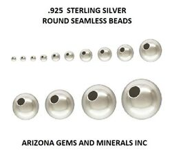 Sterling Silver .925 Round Seamless Beads Choose Size And Qty. 1.8mm Thru 18mm