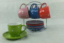 Cup And Saucer With Stand 12 Pcs Polka Dot