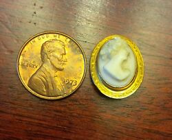 Miniature Cameo Brooch Shell High Relief Facing Right 1 1/2 Long X 5/8 Wide