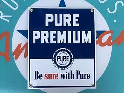 Top Quality Pure Premium Pure Oil Company Porcelain Coated 18 Gauge Steel Sign