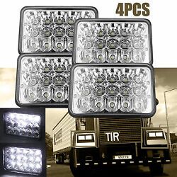 For Freightliner Classic Truck 4x6 Led Headlight Clear Sealed Hi/low Beam 4pcs
