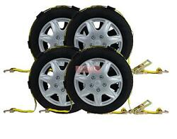 4 Pk 2x9and039 Ratchet Tire Wheel Strap Over The Tire Auto Hauler Tie Down Straps