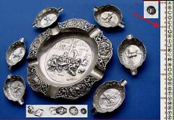 Set Antique Ashtray Um 1915 800er Silver B672