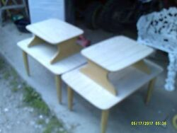 Mid Century Solid Wood Two Tiered Step Up End Table Blonde Finish