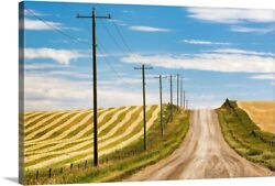 Gravel Road With Wooden Electrical Poles Canvas Wall Art Print, Countryside Home