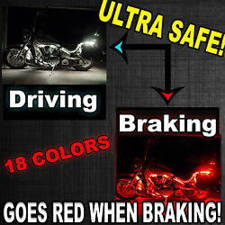 2000-2018 10pc Underglow Accent Kit For ALL Motorcycles w Brake Light Function