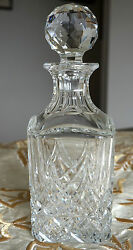 Beautiful Vintage Square Baccarat Crystal Whiskey Decanter From The 70s