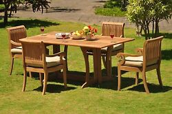 Giva Grade-a Teak 5 Pc Dining 69 Console Rectangle Table Arm Chair Set Outdoor