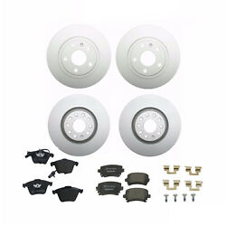 For Audi A4 Quattro 05-09 Front And Rear Disc Brake Rotors And Pad Sets Ate/textar