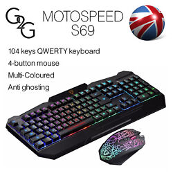 Motospeed S69 Gaming Keyboard And Mouse Usb Wired Backlight Multi-colours