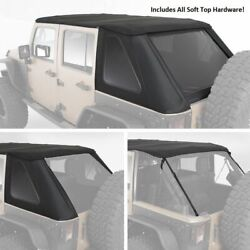 Black Bowless Top All In One Hardware Soft Top 07-18 For Jeep Wrangler Unlimited