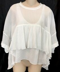 Top Milk White With Tank Top Cotton Shortsleeve Full Cut 34 Xs