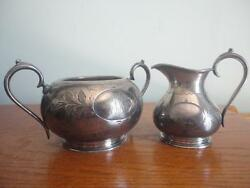 Antique Sliverplate Creamer And Sugar Bowls Marked Ep 10288 Made In England