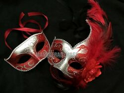 Couple Red Masquerade Ball Mask Costume Halloween School Graduation Prom Party