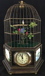 Large European Automation Birdcage With Clock, Enamel Plaques, 20th Century