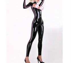 Latex Catsuit Women Sexy Rubber Jumpsuits With Trims Open Chest Customized