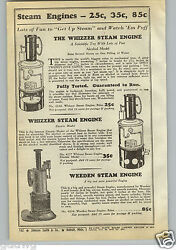1940 Paper Ad The Whizzer Toy Play Steam Engine Alcohol And Electric