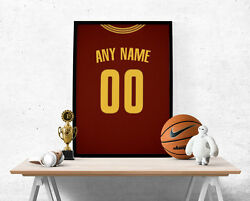 Cleveland Cavaliers Jersey Poster - Personalized Name And Number Free Us Shipping