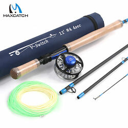 4WT Switch Fly Fishing Rod Combo 11ft Graphite IM10 56WT Fly Reel Line Kits