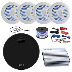 Amp / Receiver 4x 6.5and039and039 Speakers Amp Amp Install Kit 18g 50ft Wire Antenna