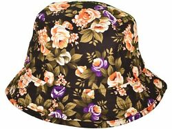 LOOK BRAND NEW Floral black bucket hats size M L GREAT DEAL $4.59