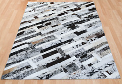 New Large Cowhide Rug Patchwork Cowskin Cow Hide Leather Carpet. White.