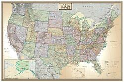 Large United States Usa Us Executive Wall Map Poster Mural Office Home 24x36